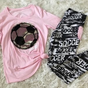 JUSTICE Girls 14/16 14 ⚽️ TUNIC YOGA PANTS OUTFIT
